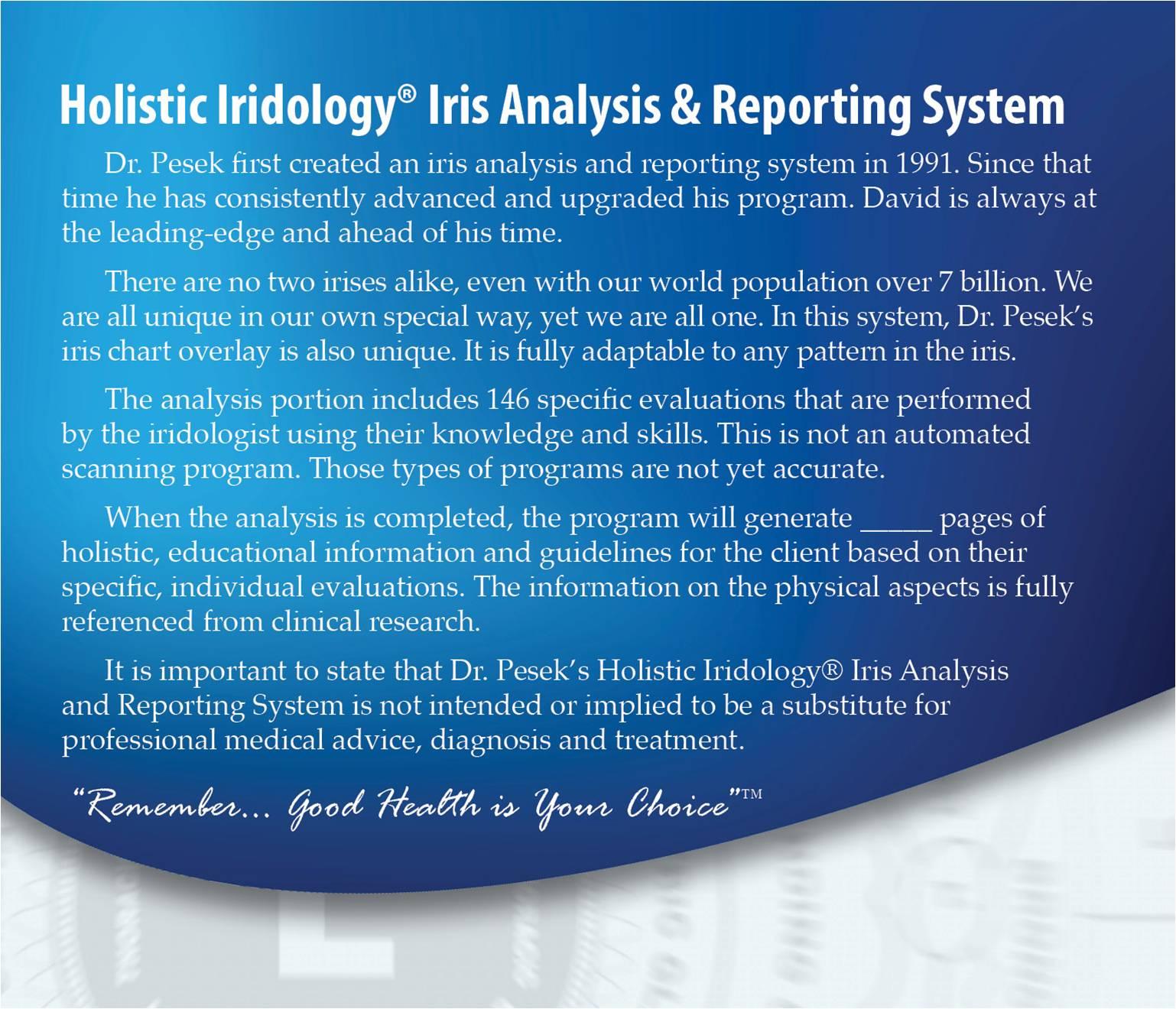 Dr. Pesek's Holistic Iridology® Iris Analysis Reporting System Software Back Cover