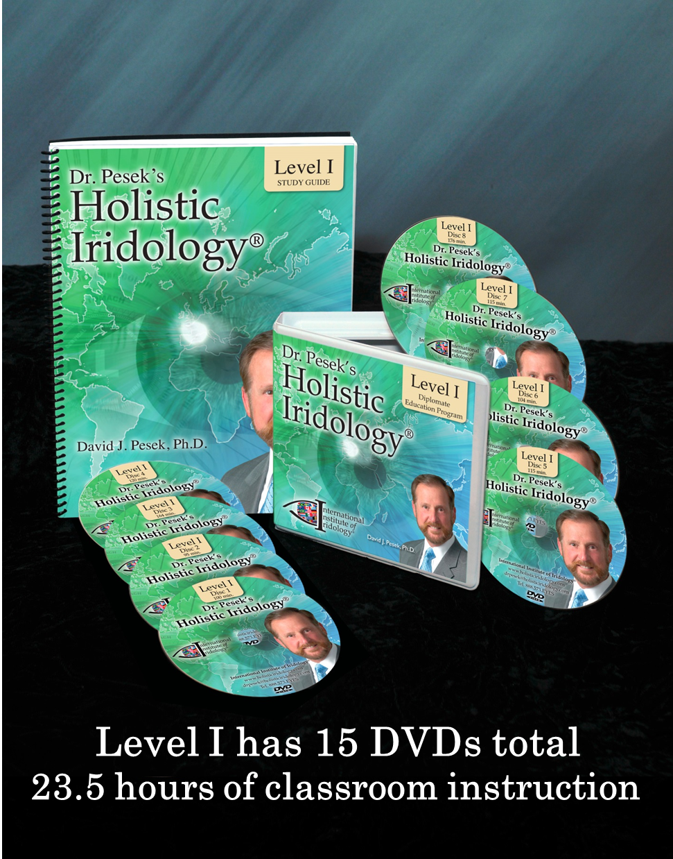 Dr. Pesek's Holistic Iridology Level I Seminar is 15 DVDs for 23.5 hours of total classroom instruction