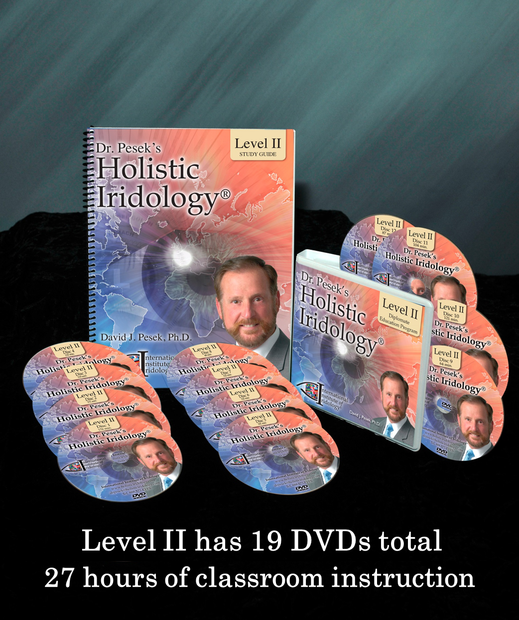 Dr. Pesek's Holistic Iridology Level II Intermediate Seminar has 19 DVDs total for 27 hours of classroom instruction.