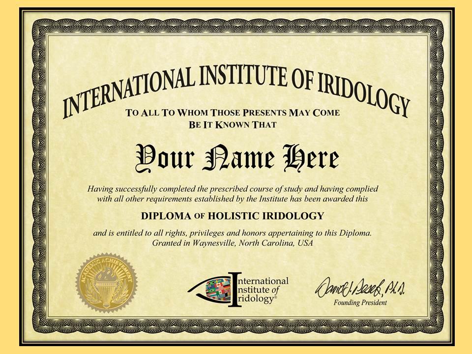 Dr. Pesek's Holistic Iridology Diploma